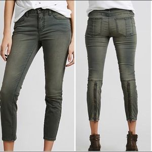 Free People Green Pants Calf Zippers 25 (1225)